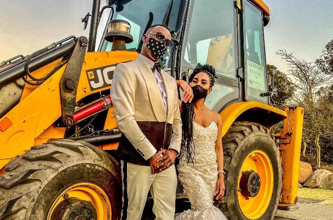 Cedric Nkolele and Joyce Hopane are the 'newlyweds' dancing at an Engen garage.