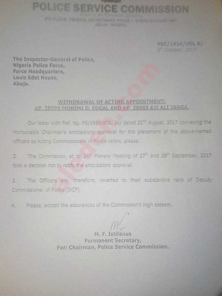 lagos Commissioner of police demoted