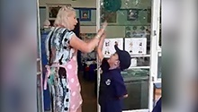 WATCH: Fist bumps, high fives and dance-offs – teacher lets children choose how to say hello