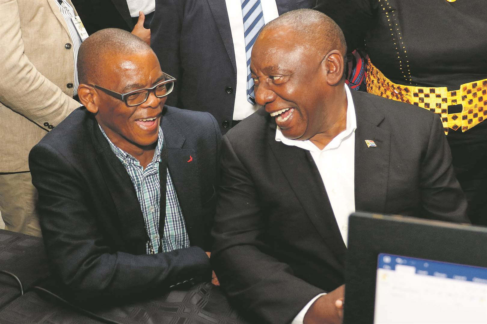 ANC secretary-general Ace Magashule with President Cyril Ramaphosa at Parliament in Cape Town.