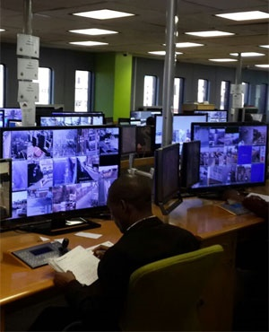 The control room where officials observe the CCTVs. (Adam Wakefield, News24)