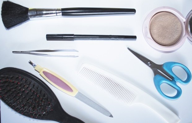 beauty tools on white background