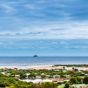 Mossel Bay with an oil rig in the distance, the la