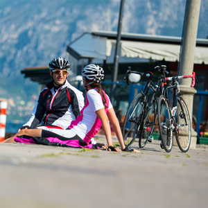 Two cyclists taking a break.