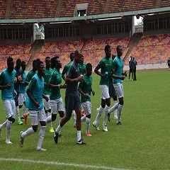 Coach Sunday Oliseh in training with home-based Super Eagles players.
