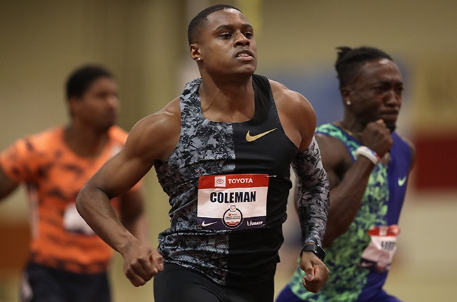 Christian Coleman competes in the USATF Indoor Championships at Albuquerque Convention Centre on 15 February 2020.