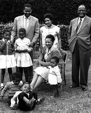 One of the first graduates at Fort Hare, ZK Matthews (second from left), poses for a family photo.