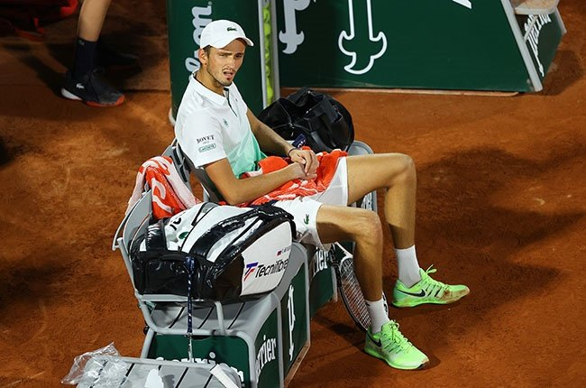 A dejected Daniil Medvedev during his French Open first round defeat on 28 September 2020.
