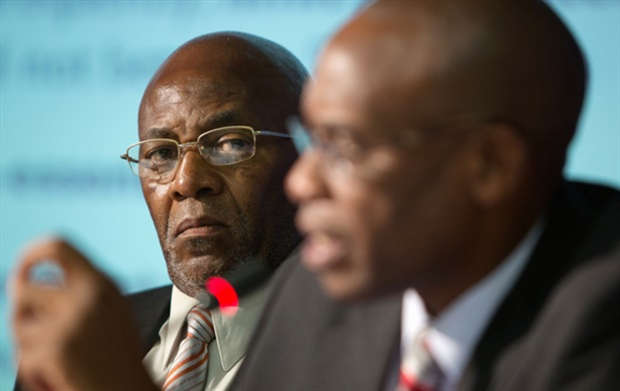 <p><strong>Former Eskom chairperson Zola Tsotsi looks on as former Eskom CEO Tshediso Matona speaks during a press conference in January 2015 when they were still in their respective roles. (Photo: Gallo)</strong></p><p></p>