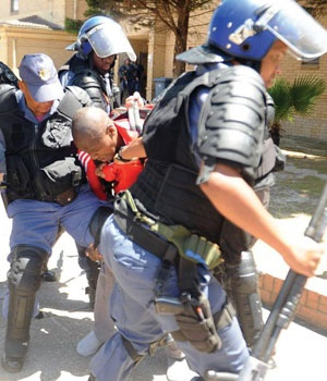 CPUT student being arrested by police. (Picture: Lulama Zenzi)