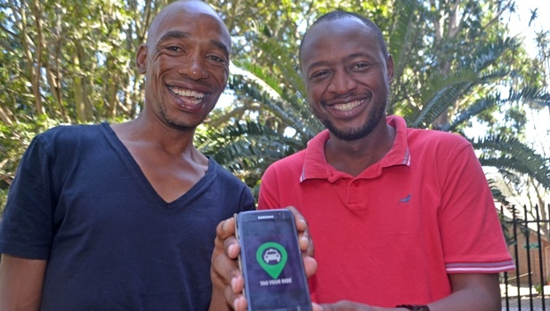Marketing officer Katlego Kgaile (left) and Rogerant Tshibangu, who is one of the brains behind the new taxi hailing app to be launched in Pietermaritzburg.
