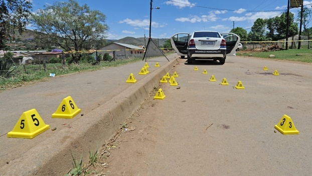The crime scene where Mhlabunzima Bruce Mngoma (30), the bodyguard of Msundizi's speaker, was mowed down in a hail of bullets in Mbanjwa Road, Caluza, yesterday morning.