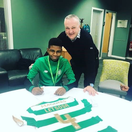 Tsoanelo Letsosa, who's 16 years old, has signed his first pro contract with Scottish giants Glasgow Celtic. Picture: FarPost/Twitter