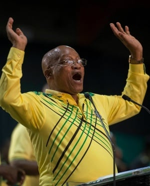 President Jacob Zuma sings after his speech at the ANC conference in December. (Deaan Vivier, Netwerk24)