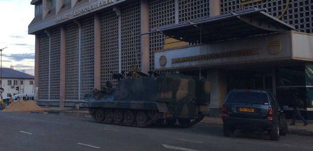 Army tankers are seen guarding the town of Harare in Zimbabwe.