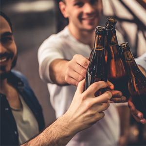 Men enjoying a beer in the bar