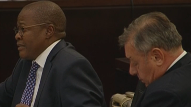 <strong>Former Eskom CEO Brian Molefe and his legal counsel</strong>