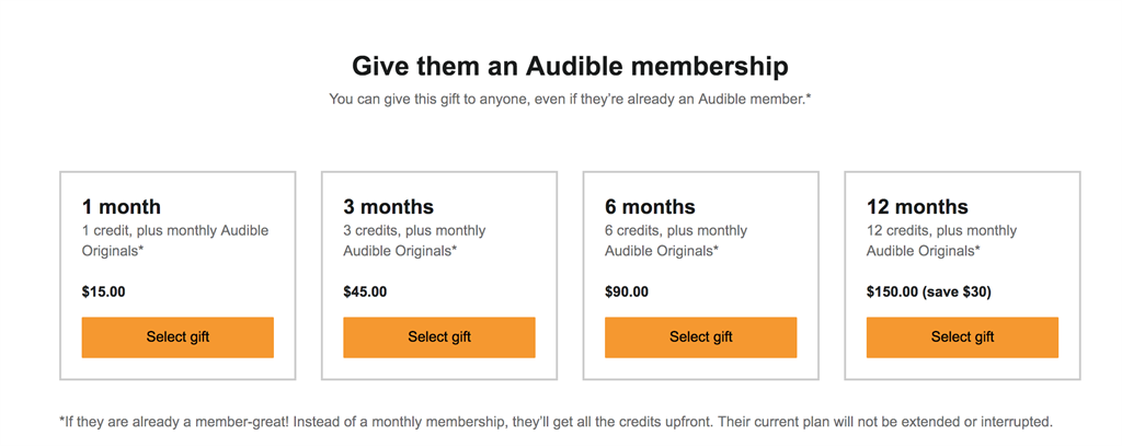 Audible gifts