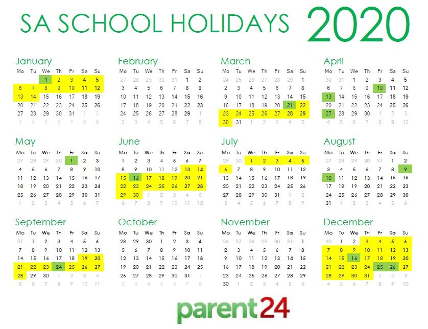 2020 Holidays Calendar PRINT IT: SA's 2020 school holiday calendar | Parent24