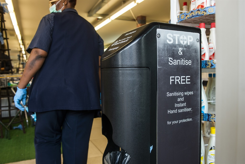 A unit dispensing free sanitizing wipes stands at the entrance to a Dis-Chem Pharmacies Ltd. store in Pretoria, South Africa, on Monday, March 16, 2020. South Africa declared a national state of disaster, halted inbound flights from countries worst affected by the coronavirus, shut schools and banned public gatherings of more than 100 people in a bid to contain the spread of the disease. Picture: Waldo Swiegers/Bloomberg via Getty Images