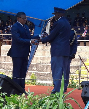 Police Minister Fikile Mbalula presides over the ceremony to bestow the sword of command to the newly appointed National Commissioner of the South African Police Service, General Khehla John Sitole. (Jeanette Chabalala, News24)