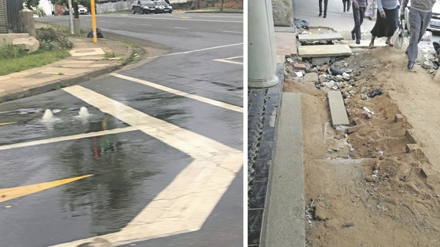 LEFT: Water has been bubbling onto the road at the intersection of Boshoff Street and Bulwer Road for about a week. RIGHT: A large excavation in the pavement along Langalibalele (Longmarket) Street. Businesses said the City had conducted repairs to the water pipe months ago, and are yet to repair the site.