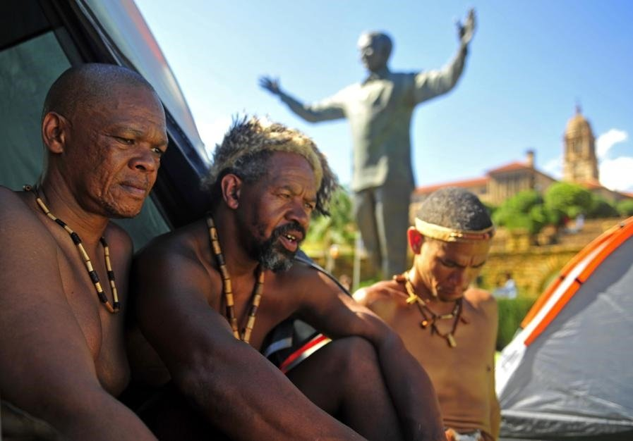 The group of Khoisan who have staged a sit-in at the Union Buildings in Tshwane to demand recognition of their culture and language. Picture: Tebogo Letsie