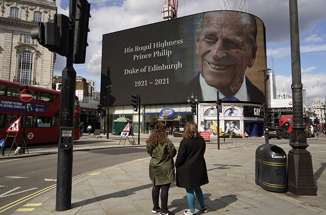 The electronic billboard at Piccadilly Circus displays a tribute to Britain's Prince Philip, Duke of Edinburgh in central London.