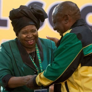 Presidential hopefuls Nkosazana Dlamini-Zuma and Cyril Ramaphosa share a moment of laughter during the ANC elective conference on Saturday. (Deaan Vivier/Netwerk24)