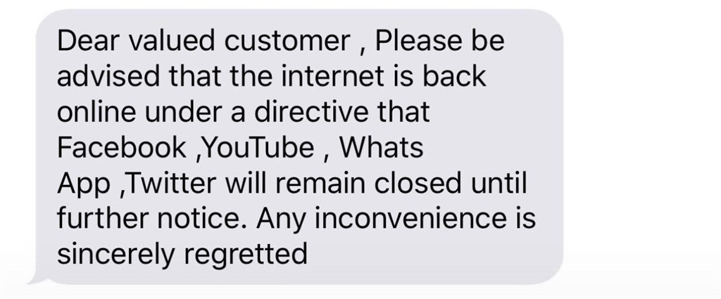 The SMS sent to Zimbabwean telecommunications user