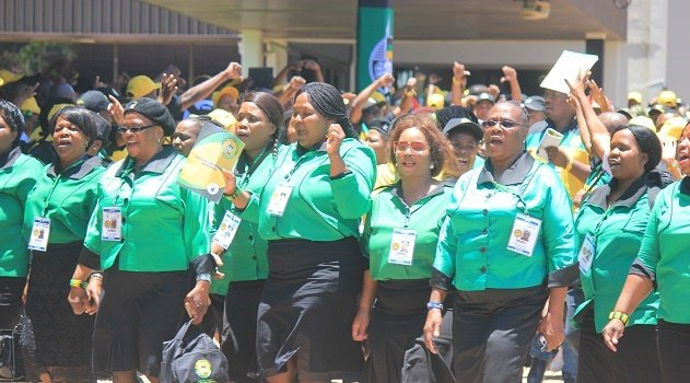 ANC Women's League members singing outside the ANC national conference venue. The league is backing Nkosazana Dlamini-Zuma for the party's president.