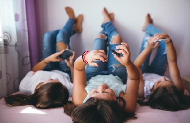 teenage girls having fun