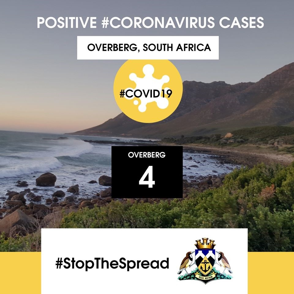 Four Confirmed cases of Covid-19 in the Overberg