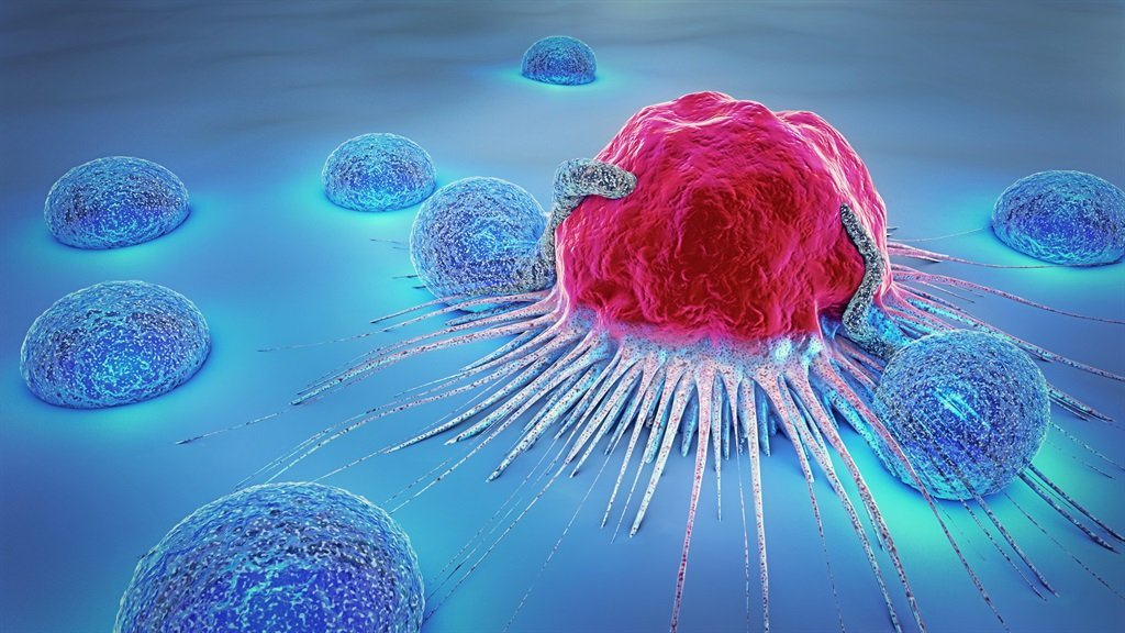 A 3D illustration of a cancer cell and lymphocytes. Picture: iStock/Gallo Images