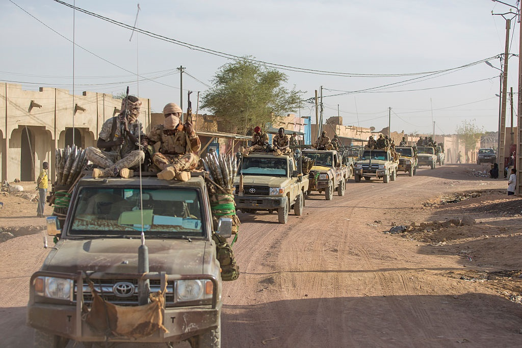 Soldiers of the Chad army on patrol in the streets of Kidal, Mali (Photo by Patrick ROBERT/Corbis via Getty Images)