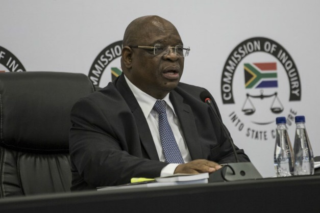 Deputy Chief Justice Raymond Zondo presiding over the commission of inquiry into state capture. (Gulshan Khan/AFP)