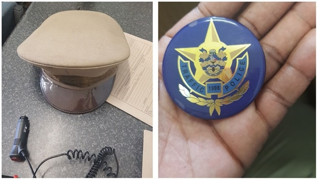 LEFT: The traffic officer's cap that was confiscated from a man who was arrested at the weekend for impersonating a traffic officer. RIGHT: The traffic officer's badge that was confiscated from the 'fake traffic officer' on Saturday.