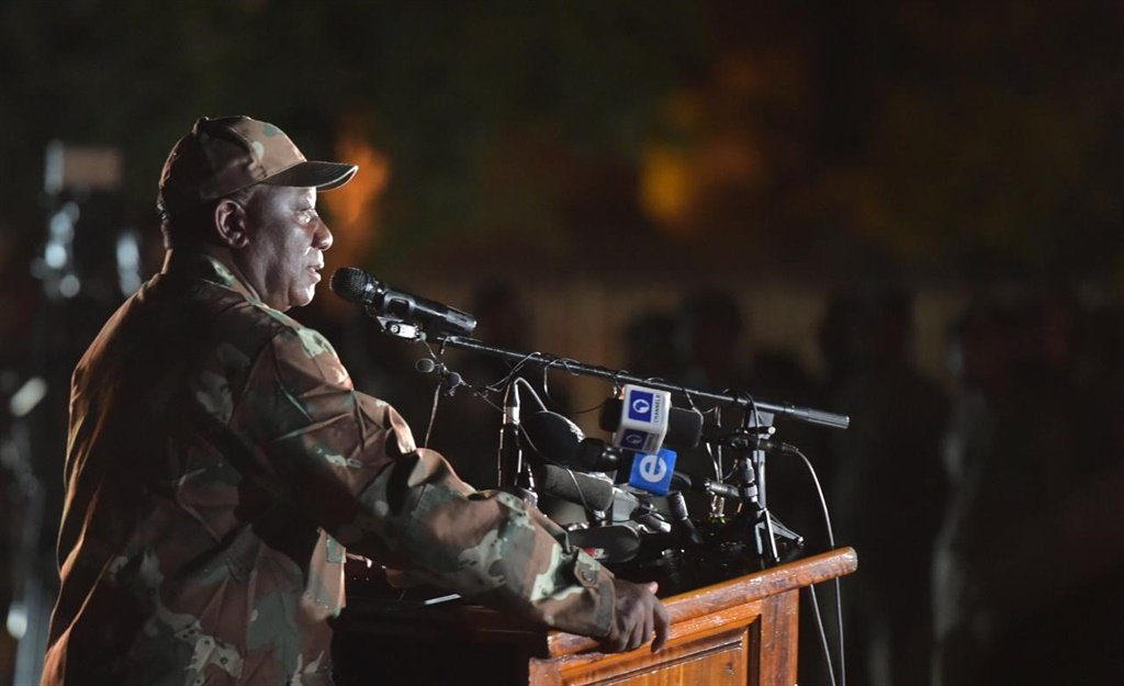President Cyril Ramaphosa addressing the SA National Defence Force before their deployment ahead of a lockdown for 21 days.