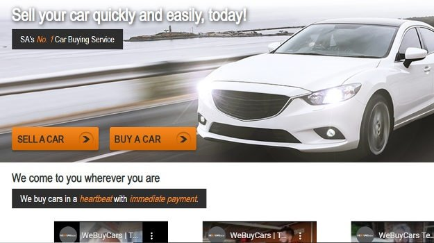 A screengrab of the website of WeBuyCars.