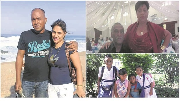 The eight family members who died in the horror crash on Sunday. LEFT: Mitchell and Veroshnie Mahabeer. TOP: ABOVE: Chairperson of Loop Street CPF, Gerald Harry, with his sister Loraine Rampersad, who died in the horror crash along with seven family members on Sunday. BOTTOM: LEFT: Isabella (11), Leah (4), Titus (3) and Hannah (6) Mahabeer.