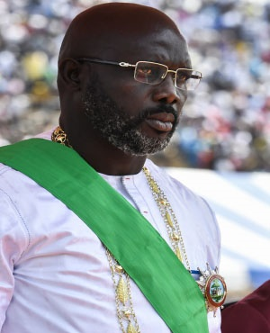 Liberia's president-elect and former football star George Weah looks on during his swearing-in ceremony in Monrovia. ( File, AFP)