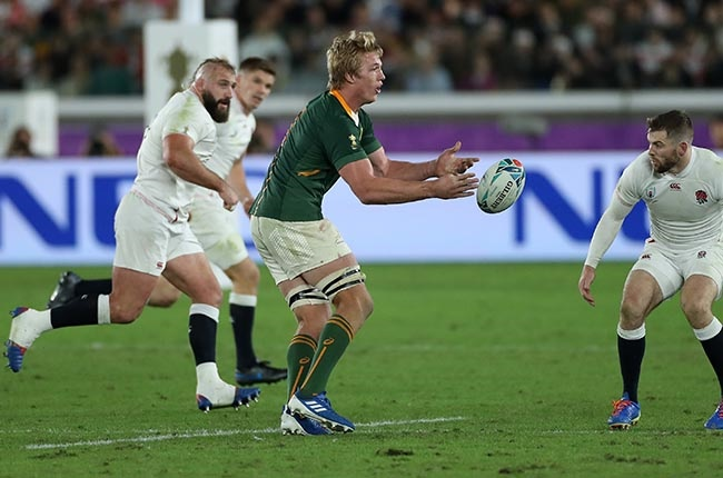 Pieter-Steph du Toit on the charge in the 2019 World Cup final (Photo by David Rogers/Getty Images)
