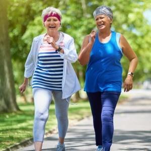 Walking is good for senior women's hearts.