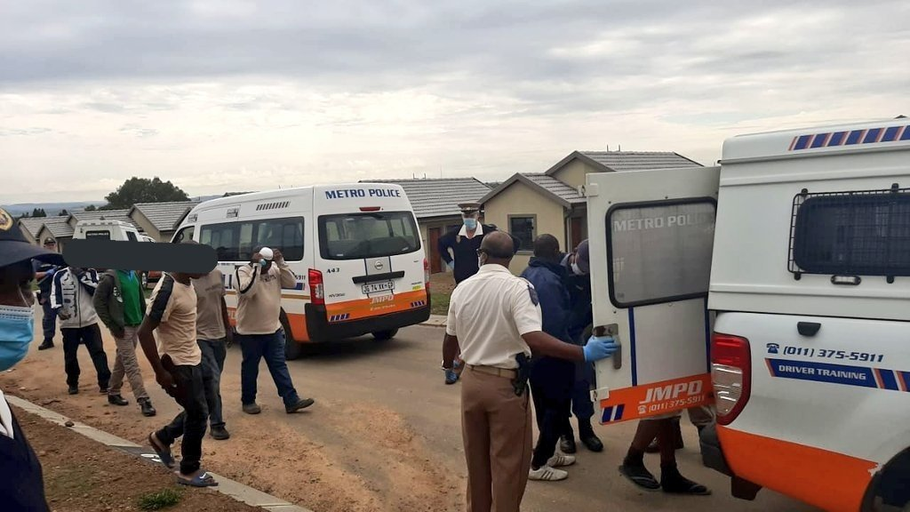 Workers at a Johannesburg construction site have been arrested after the were found at work despite the national lockdown.