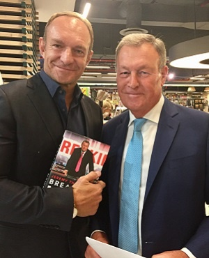 Former Springbok captain Francois Pienaar (left) with Jeremy Thompson at the launch of his autobiography, Breaking News, in Cape Town. (Picture: Supplied)