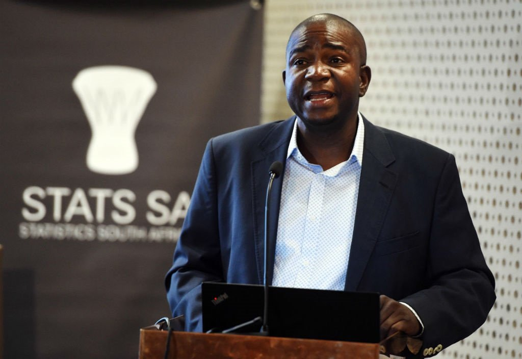 Statistician-General of South Africa, Risenga Maluleke at a media briefing held at the Ronnie Mamoepa Media Centre, Tshedimosetso House in Pretoria.