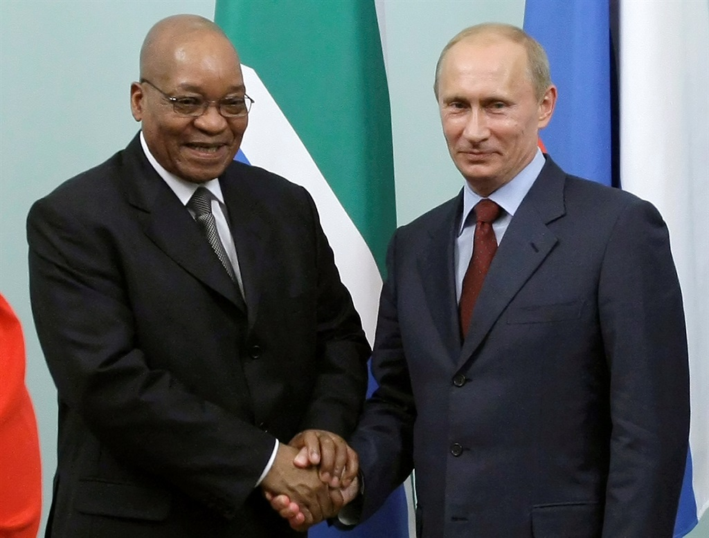 Vladimir Putin shakes hands with President Jacob Zuma during their meeting in Moscow in 2010. Picture: Misha Japaridze/Reuters