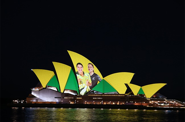 Lights are projected on the Sydney Opera House on June 25, 2020 in Sydney, Australia. Australia along with New Zealand are predicted to be announced as the hosts of the 2023 FIFA Womens World Cup, announced early on Friday Sydney local time.