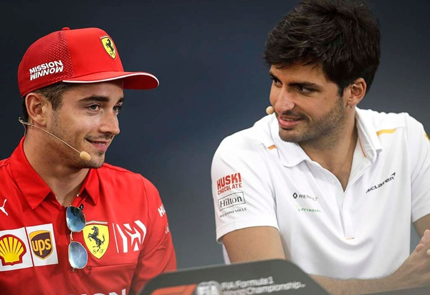 Charles Leclerc (left) and his new team mate, Carlos Sainz