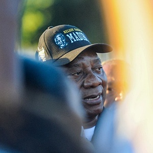 President Cyril Ramaphosa on during his run from Gugulethu to Athlone. (Jaco Marais, Netwerk24)